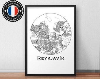 Poster Reykjavik Iceland Minimalist Map - City Map, Street Map
