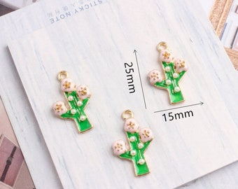 10pcs/lot Cute Golden Cactus flower Charms Pendant Jewelry,Oil Green Mini Plant Cactus with Pearl Charms Diy Accessories