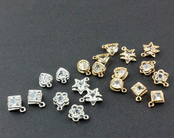 10Pcs Gold Charm-Star Charm-Triangle Charm-Tiny Flower Charm-Heart Charm-Square Charm-Round Charm-Geometric Pendant Diy Jewelry