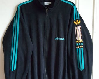 """Jacket sports Adidas """"One World"""" Vintage years 80-90 Made in France size L (L/XL)."""