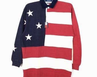 RARE!! Vintage 90s Tommy Hilfiger Long Sleeve Polos Shirt Big Logo Retro Hip hop Swag Flag USA deadstock Condition / Sailing Gear Rap Tees