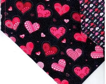 Packed Hearts Black    Valentines Day Dog Bandana   Dog Bandana   Puppy Bandana   Pet Bandana   Over the Collar Bandana