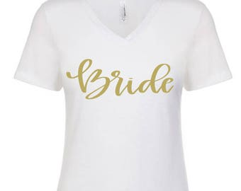 Bride Tribe Tee- Bachelorette Party Bride Squad V Neck Tee