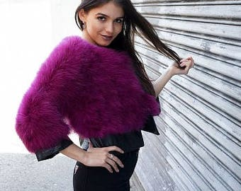 Marabou Feather Jacket with Faux Leather Detail