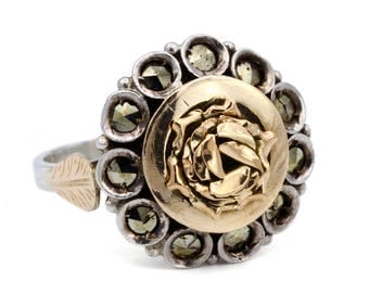 Victorian Rose Marcasite Ring, 10K Rose Gold Sterling Silver, Antique 1800s Jewelry, Georgian Era Jewelry, Rose Flower Ring, Ring Size 7