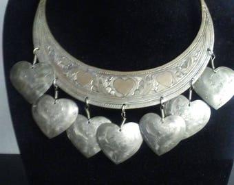Unique Vintage Heart Statement Necklace