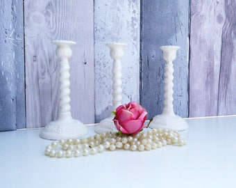 Candlestick holder, shabby candle holder, metal candle holder, vintage taper holder, modern candle holder, white candle holder