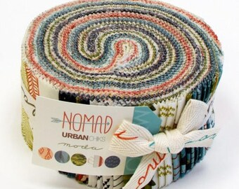 MODA Nomad Jelly Roll by Urban Chiks, Precut Fabric, Cotton Strips, 40 2.5x44-inch fabric strips, 31100JR