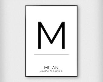 Milan | City | Black and White | Coordinates - Fashion - Poster