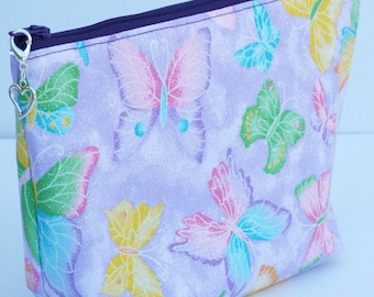 Butterfly Sparkly Purple Make Up Bag/Travel Bag/Cord Bag/Pencil Pouch/Heart Removable Zipper Pull