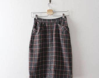 SUMMER SALE vintage 1950s plaid skirt // 50s 60s wool plaid pencil skirt