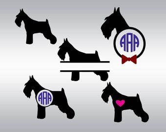 Schnauzer svg, Schnauzer monogram svg, Dog svg, Pets svg, Puppy svg, SVG Files, Cricut, Cameo, Cut file, Files, Clipart, Svg, DXF, Png, Eps