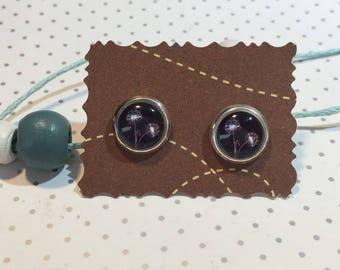 Flower dandelion earrings earrings cabochon