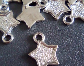 10 charms silver stars 12x10mm