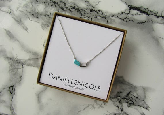 Turquoise Chevron Pendant Necklace, Dainty Turquoise Necklace, Dainty Necklace, Pendant Necklace, Everyday Jewelry, Boho Necklace, Boho Chic