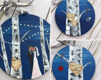Wedding Ornament Personalized Mr Mrs Ornaments Set - I Do Ornament  - Were Engaged - Bride Groom Ornament - Our First Christmas Together