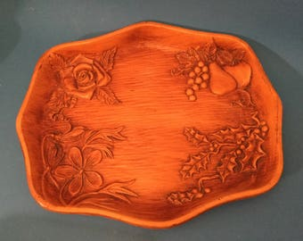 Hand Carved Mid-century Wood Tray. Fruit Tray-Nut Tray - 1959 Home Decor