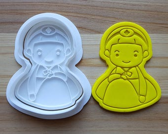 Politely Seated Girl wearing Traditional Korean Cloth Cookie Cutter and Stamp