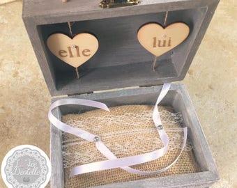 Ring bearer box / ring bearer wedding burlap lace