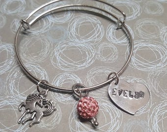 Personalized Unicorn Charm Bracelet