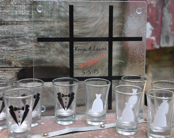 Wedding Game, Tic Tac Toe Game , Bride and Groom Gift, Shot Glass Party Game