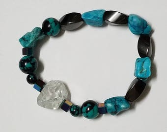 Healing braselet, Crystal,hematit,turquoise healing braselet, yoga braselet,positive energy,relaxing braselet,gift for her,gift for him