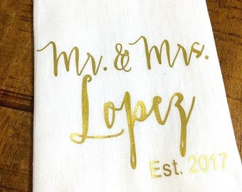 Personalized Kitchen Towel - Custom Gold Bridal Shower Wedding Gift - Housewarming - Flour Sack Tea Towel Kitchen Gift