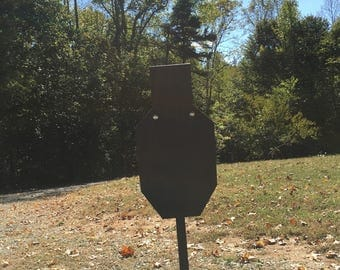 AR 500 Steel Targets BC zone Silhouette with stand and static mount