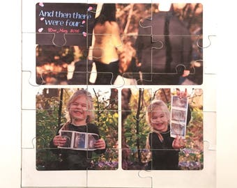 Magnetic photo puzzle card for custom baby announcement gender reveal boy girl
