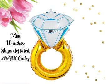 "Ring Balloon(Mini 16""), Engagement Balloon, Diamond Ring Balloon, Wedding Ring Balloon, Bridal Shower, Bachelorette Party, Engagement Party"