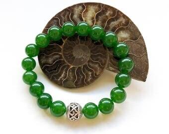 Jade Bracelet/Green Jade Bracelet/Womens Bracelet/Mens Bracelet/Green Jade/Love Gift for Him and Her/Good Health/Friendship Love Prosperity