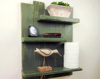 forest green handmade wood wall shelf u2013 3 shelf bathroom organizer u2013 solid wood wall mount
