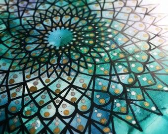 7 x 5 inch HANDDRAWN Mandala