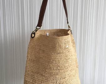 Langkawi oversized raffia bucket bag