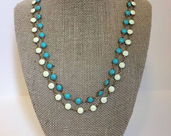 Long layering beaded necklace