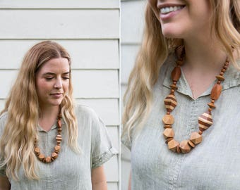 1970's Chunky Wood Beaded Necklace