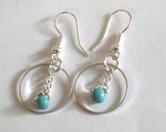 Turquoise Minimalist Silver Earrings, Circle Geometric Earring, Small Ring Dangle Earrings, Minimal Jewelry,  Everyday earrings, Dangle Hoop