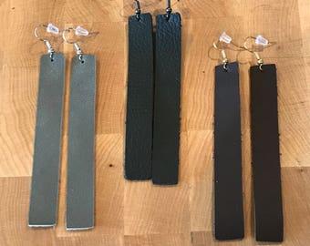 long bar leather earrings/Joanna Gains inspired/leather bar earrings/long leather earrings/leather earrings