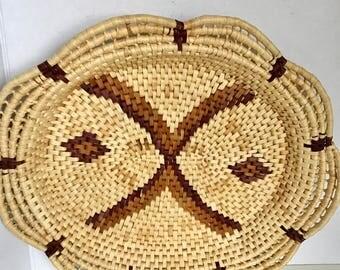 Vintage woven rattan coil basket/tray