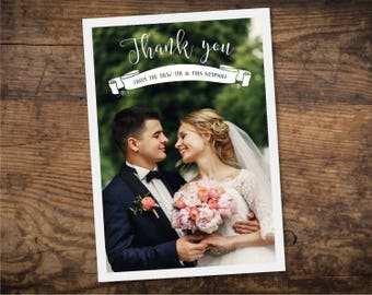 Printable Thank You Cards Wedding / Photo Thank You Cards Love and Thanks - Design ID: 21-58A