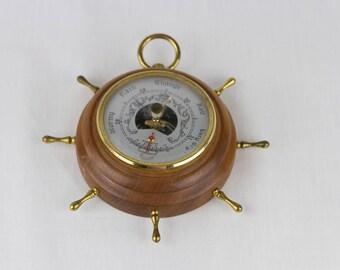 Vintage Barometer/Thermometer / H & V Sifordl Adjustable Wooden Circular Wheel Barometer/Thermometer