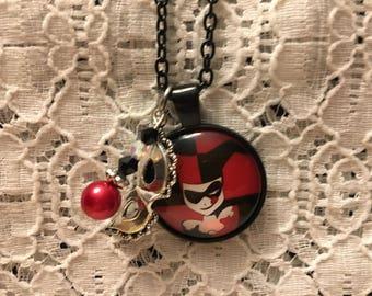 Harley Quinn Charm Necklace/Harley Quinn/Harley Quinn Jewelry/Batman Villain Necklace/Villain Necklace/DC Comic Jewelry/Villain Jewelry