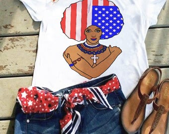 Afro Chic Flag T-Shirt/4th of July T-Shirt/Independence Day T-Shirt
