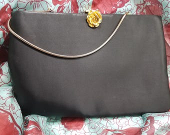 Exquisite Ingber Black Satin Evening Clutch with Hidden Chain