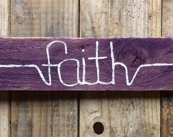 Purple and White Arrow Faith Wood Sign