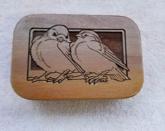 "VINTAGE Music Box ""I'D Like To Teach The World To Sing"" Wooden Birds 3"" x 2"""