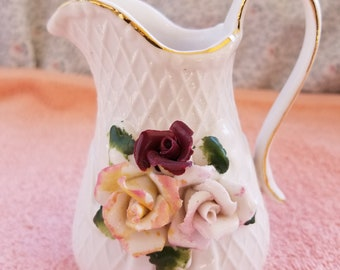 """White Pitcher With Roses & Gold Trim - 4.5"""" Tall"""