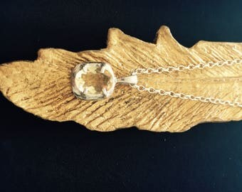lemon quartz/ sterling silver pendant