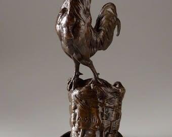Antique French Cain Bronze Rooster Desktop Pen Holder