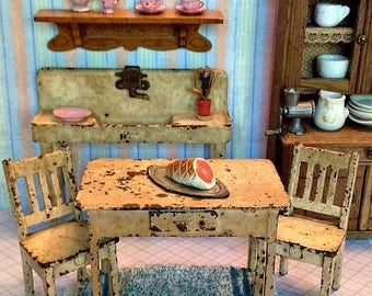 Antique/Vintage Arcade Cream Metal Four Piece Kitchen Set Including Sink, Table with Drawer, and Two Side Chairs for Large Scale Dollhouse